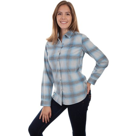 Scully Womens Blue/White 100% Cotton Plaid L/S Shirt L