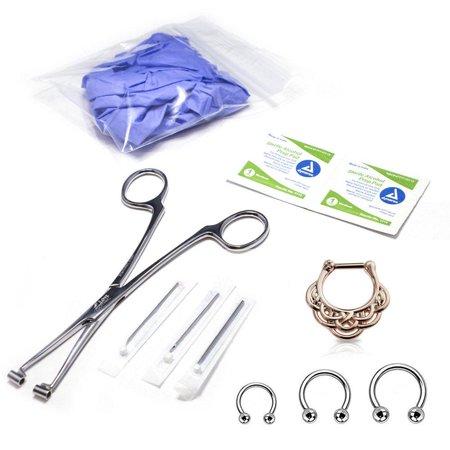 10-Pcs Septum Piercing Kit - Horseshoe Circular, Septum, Needle, Forceps, Gloves - Horseshoe Kit