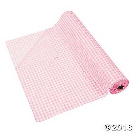 Light Pink Gingham Plastic Tablecloth Roll](Pink Gingham Tablecloth)