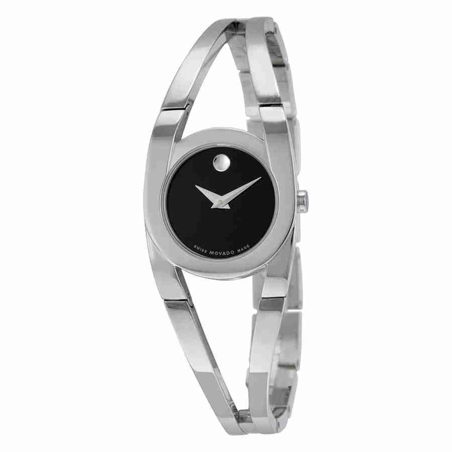 Movado Amorosa Black Dial Stainless Steel Ladies Watch 06...