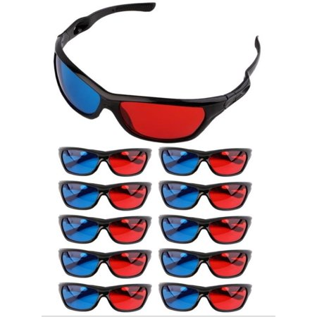 Frame Amo Universal Anaglyph 3D TV Glass, Red and Blue Lens, 10-PACK - 3 D Glasses