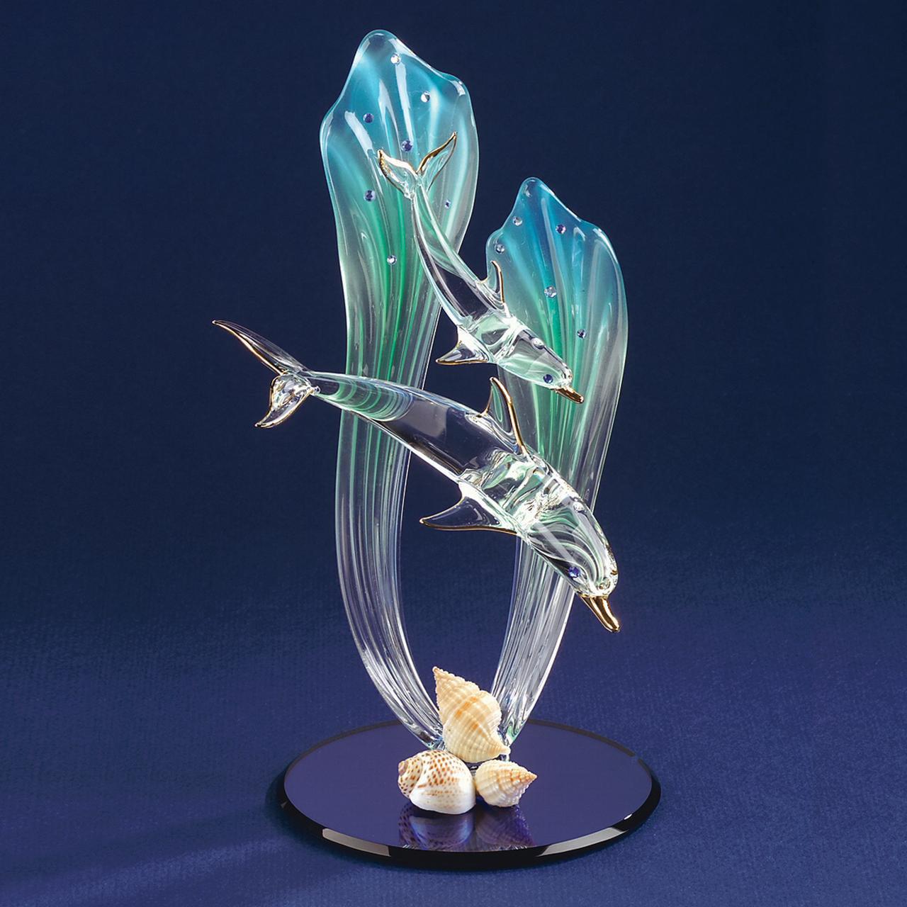 Dolphin Baby Glass Figurine Floral Garden Nautical Pet Animal Glas Baron For Women