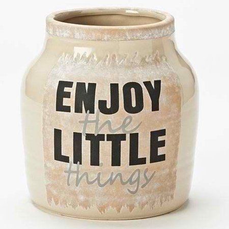 6 5 H Enjoy The Little Things Vase   Tan  Materials  Ceramic By Roman