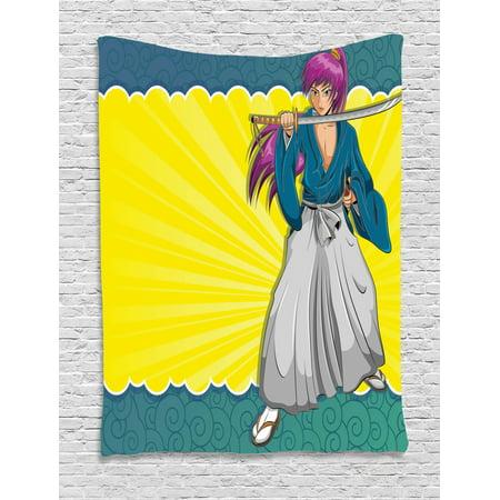 Anime Tapestry Manga Style Girl Samurai Warrior Character