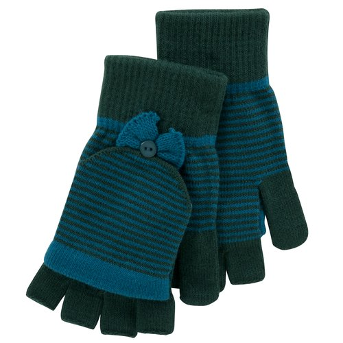 No Boundaries Stripe Poptop Gloves with Bows, Turquoise