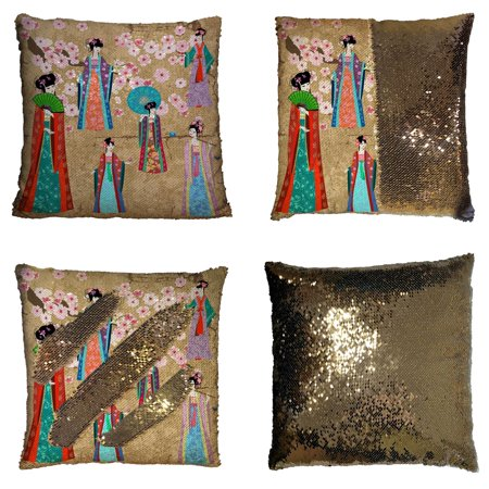 YKCG Oriental Girl in Chinese Costume Pink Floral Cherry Blossom Reversible Mermaid Sequin Pillow Case Pillow Cover 16x16 inches