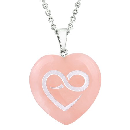Amulet Infinity Eternity Heart Love Power Protect Energy Rose Quartz Puffy Heart Pendant 22 Inch Necklace