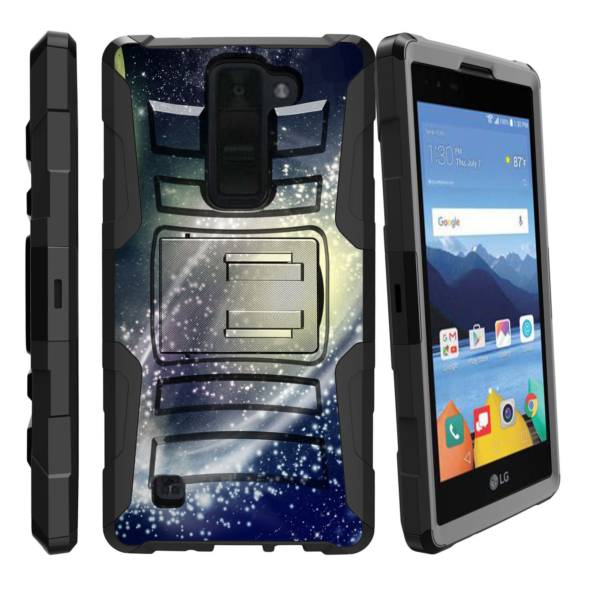 LG K8V and VS500 Miniturtle® Clip Armor Dual Layer Case Rugged Exterior with Built in Kickstand + Holster - Flying through Space