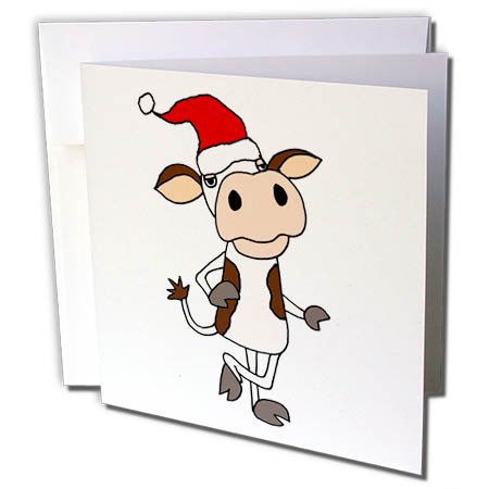 3dRose Funny Cute Cow in Santa Hat Christmas Cartoon - Greeting Card, 6 by 6-inch - Funny Christmas Hats Adults