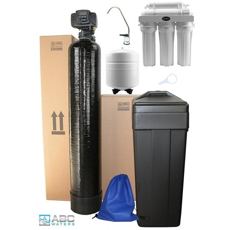 ABCwaters built Fleck 5600sxt 48,000 Black WATER SOFTENER with Upgraded 10% Resin + 5 Stage Reverse Osmosis Drinking Water Filter System 50 gpd - Complete