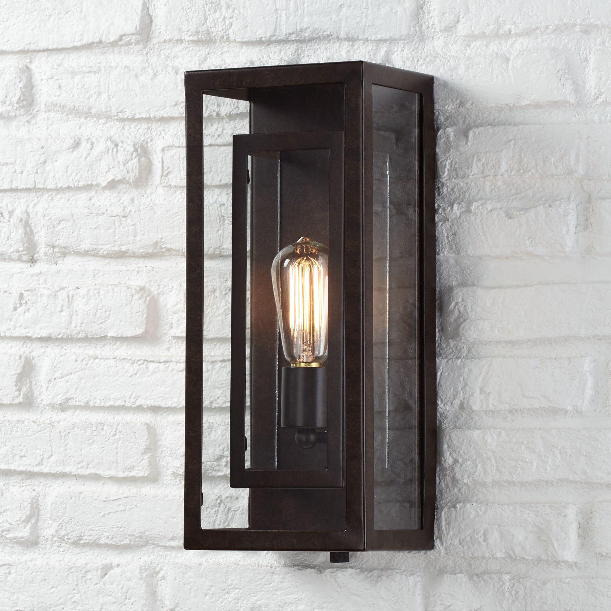 "Possini Euro Design Modern Outdoor Wall Light Fixture Bronze Double Box 15 1/2"" Clear Glass Exterior House Deck"