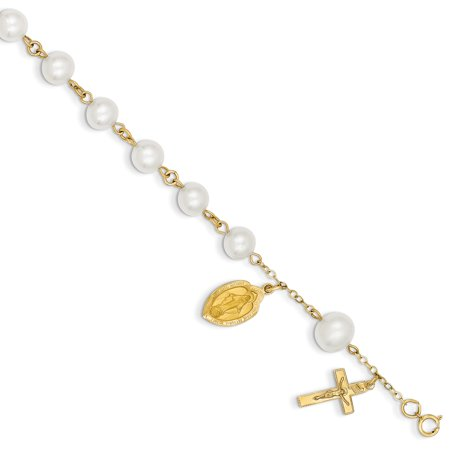 14k 6.0-6.5mm Freshwater Cultured Pearl Rosary Bracelet in 14k Yellow Gold