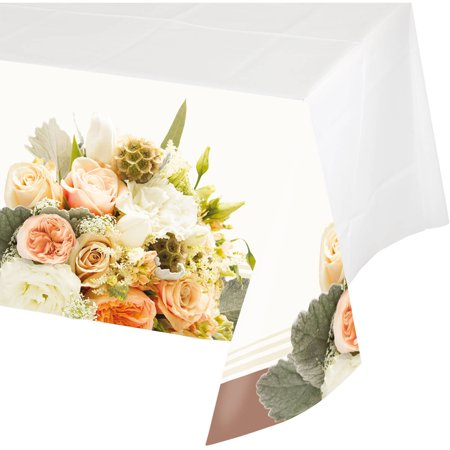 Rose Gold Bouquet Plastic Tablecloth