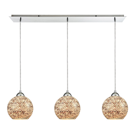 Pendants 3 Light With Polished Chrome Finish Painted Crosshatch Mosaic Medium Base 36 inch 300 Watts - World of Lamp