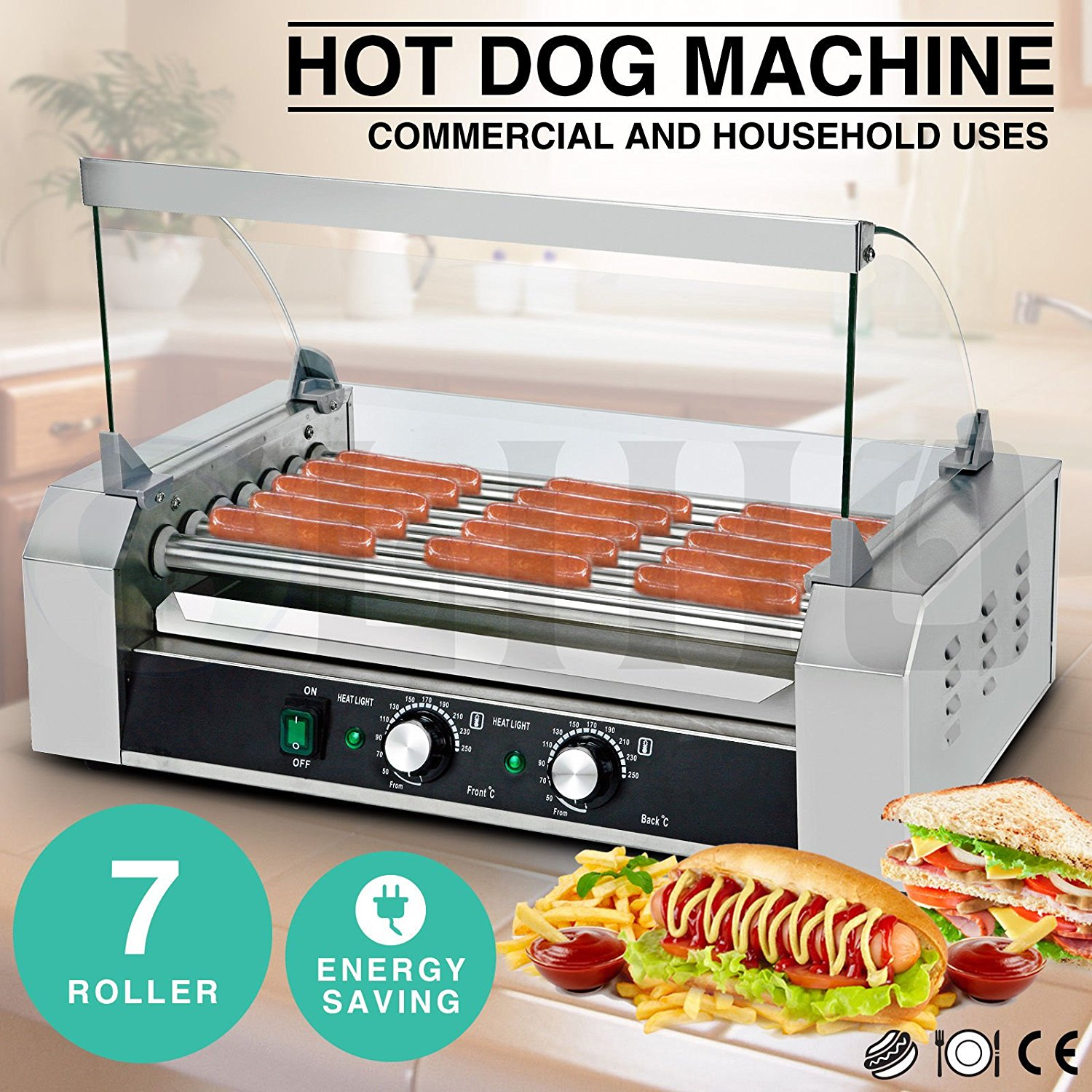 Roller Commercial Hotdog 7 Roller Grill Hot Dog Cooker Machine
