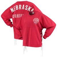 Nebraska Cornhuskers Women's Chunky Side Lace-Up Spirit Jersey T-Shirt - Scarlet