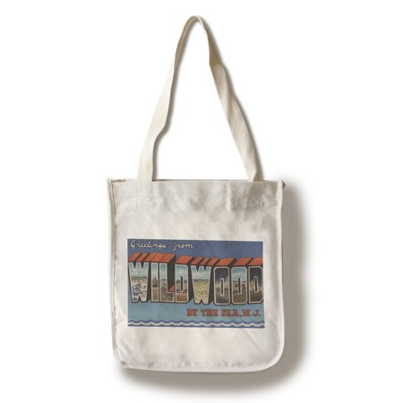 Jersey Letter - Wildwood-By-The-Sea, New Jersey - Large Letter Scenes (100% Cotton Tote Bag - Reusable)
