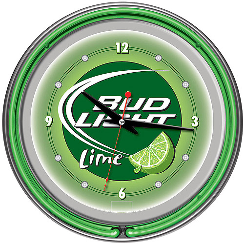 "Bud Light Lime 14"" Neon Wall Clock"
