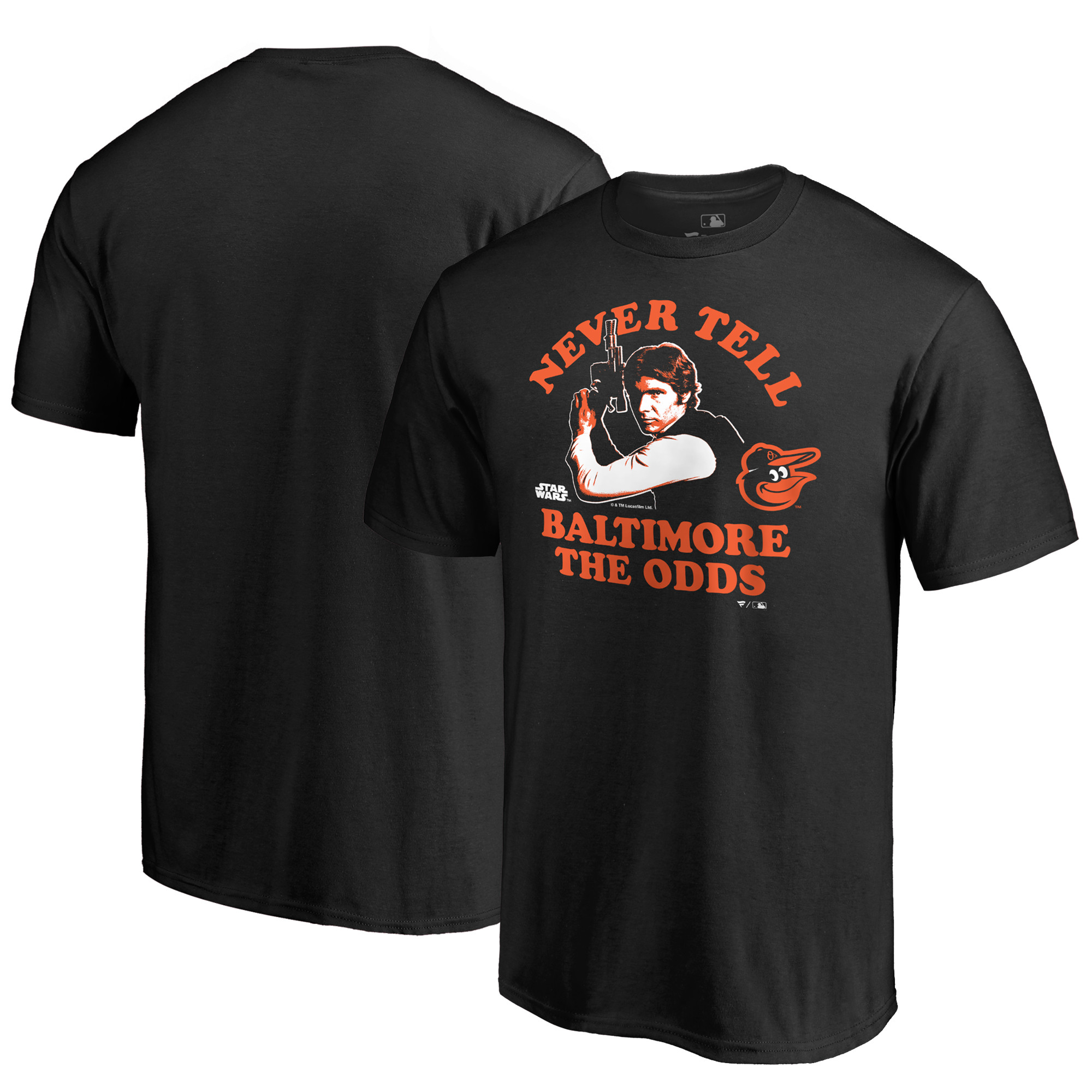 Baltimore Orioles Fanatics Branded Star Wars Never Tell The Odds T-Shirt - Black