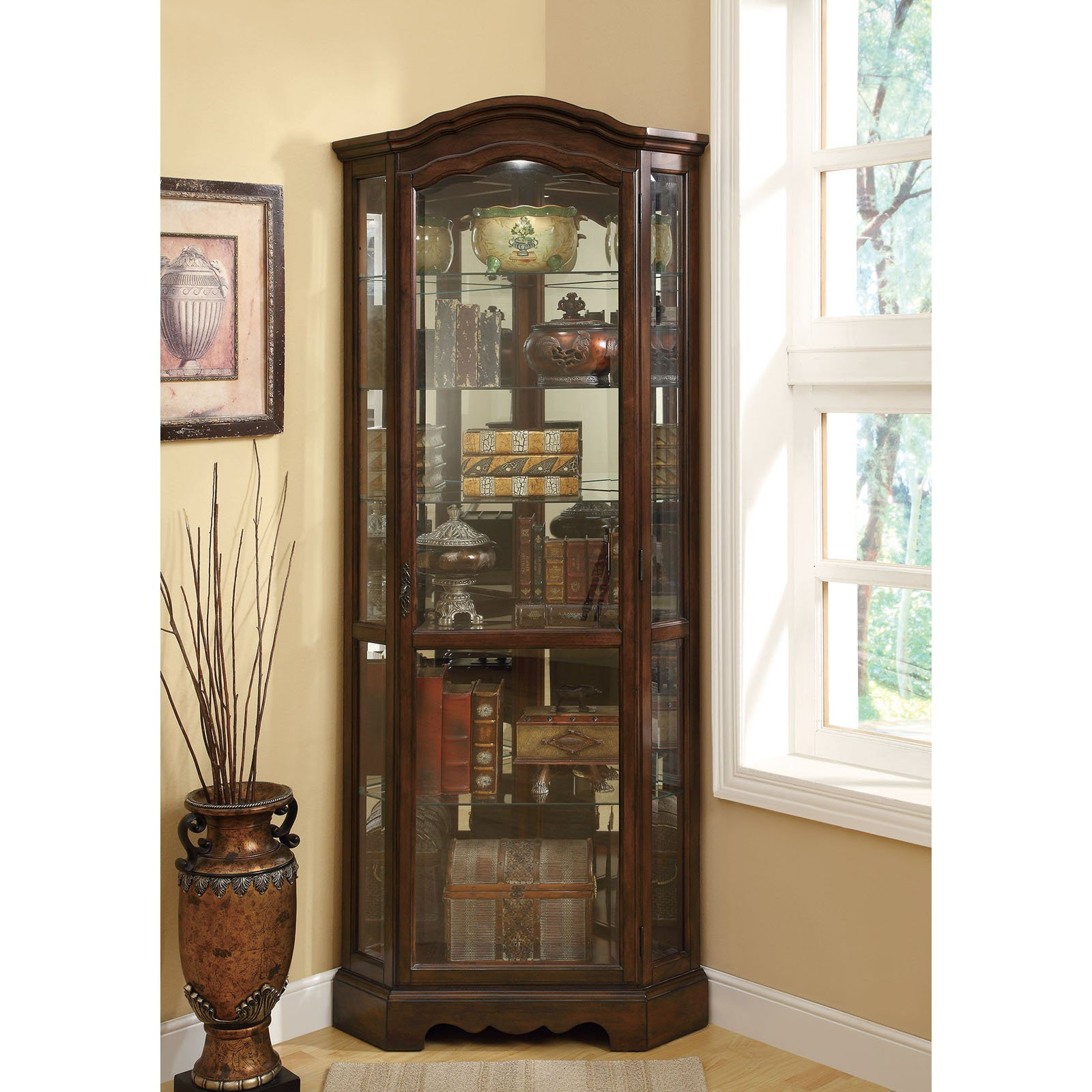 Coaster Company Corner Curio Cabinet, Medium Brown Finish by Coaster Company