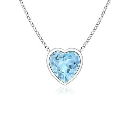 Valentine Jewelry Gift - Bezel-Set Solitaire Heart Aquamarine Pendant in 14K White Gold (4mm Aquamarine) - SP0152AQ_N-WG-AAA-4 Bezel Set Heart Pendant