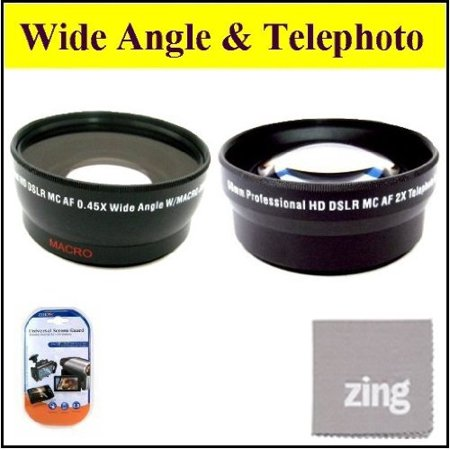 34mm 2X Telephoto Lens + 34mm 0.45x Wide Angle Lens with Macro for Canon VIXIA HFR20 HFR21 HFR200 Camcorder + MicroFiber Cleaning Cloth + LCD Screen Protectors Lcd Camera Lens