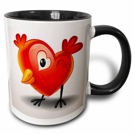 3dRose Adorable baby chick shaped like a heart with heart wings - Two Tone Black Mug, 11-ounce