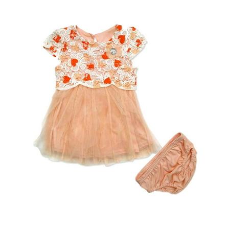 Nannette Infant Girls Coral Crochet Flower Print Dress Ruffle Skirt Summer Dress - Lane Kjl Coral