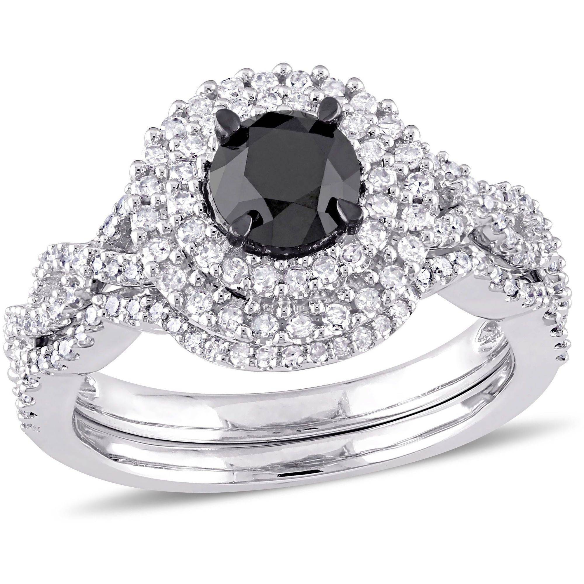 1-1 2 Carat T.W. Black and White Diamond 10kt White Gold Double-Halo Infinity Bridal Set by Generic