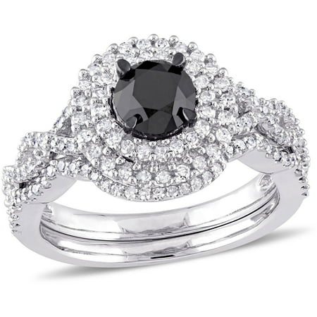 1 1 2 Carat T W  Black And White Diamond 10Kt White Gold Double Halo Infinity Bridal Set