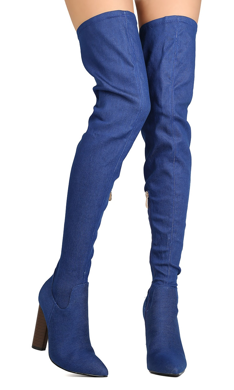 Cape Robbin GA86 Women Denim Thigh High Pointy Toe Chunky Heel Boot