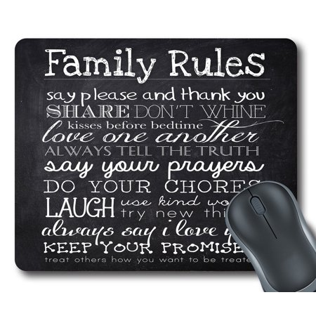 GCKG Family Rules Educational Mouse Pad Rectangle Gaming Mousepad 9.84x7.87 inches - image 1 of 2