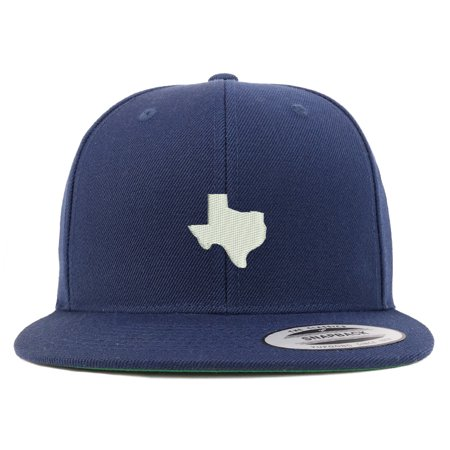 faa148c97 Texas State Map Embroidered Flat Bill Snapback Baseball Cap - Navy ...