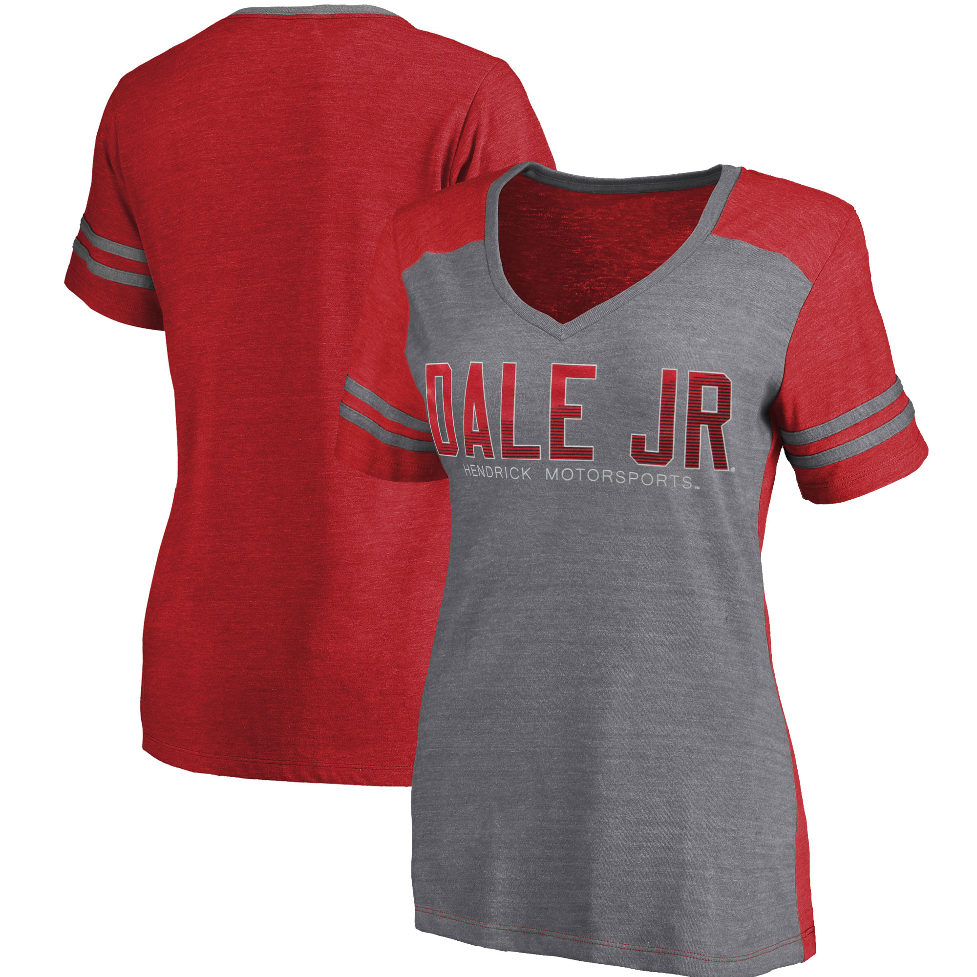 Dale Earnhardt Jr. Fanatics Branded Women's Stealth Pop Drivers V-Neck Raglan T-Shirt - Gray/Red
