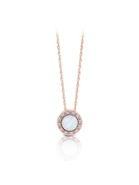 Sterling Silver 14K Gold Plated Round Halo Created Opal & Cubic Zirconia Pendant Necklace