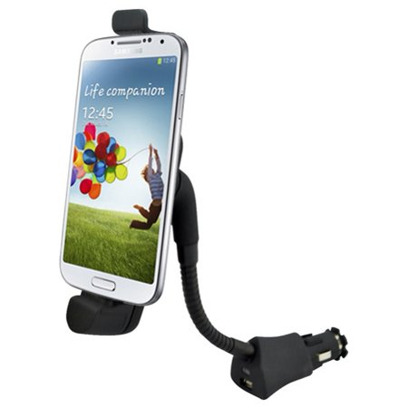 Car Mount Charger Plug Holder with USB Port Dock Cradle Gooseneck Swivel Black P6D Compatible With Alcatel Go Flip, Cingular Flip 2, Fierce 2, Evolve 2 - Huawei Vitria, Union, Ascend P7 (Huawei Ascend P7 Smartphone)