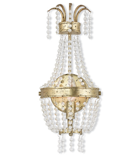 Wall Sconces 1 Light With Clear Crystals Hand Applied Winter Gold size 8 in 60 Watts - World of Crystal