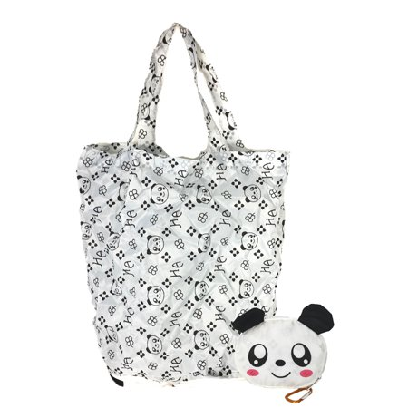 Fashion Culture Panda Purse Charm Packable Eco Shopping Tote, White