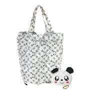 Fashion Culture Panda Purse Charm Packable Eco Shopping Tote, White