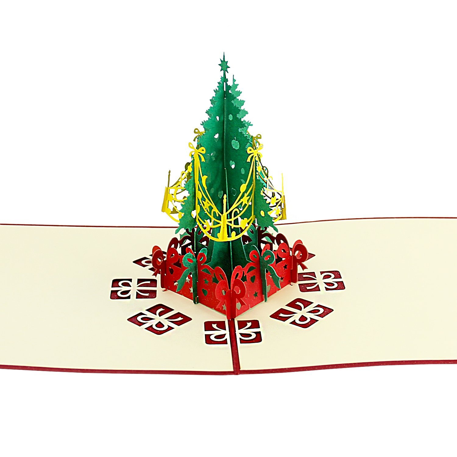Dl Furniture Pop Up Greeting Card Christmas Tree Hollow Design