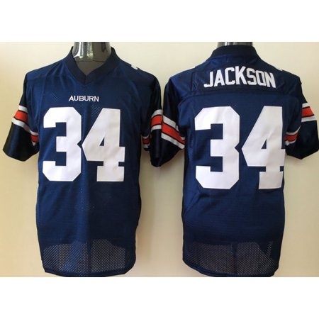 Auburn Cycling Jersey - Mens Auburn Tigers JACKSON #34 Football Jersey Blue Medium