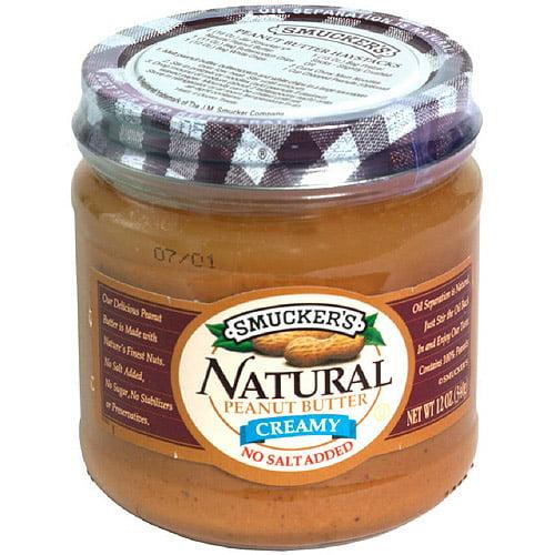 Smucker No Salt Natural Peanut Butter, 12 oz, (Pack of 12)