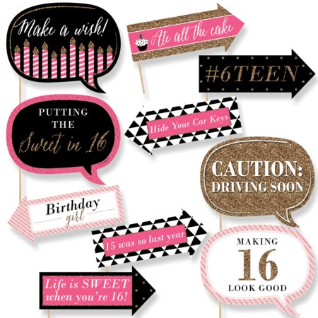 Funny Chic Sweet Sixteen Birthday - Pink, Black and Gold - 16th Birthday Party Photo Booth Props Kit - 10 Count