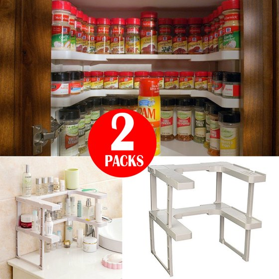 2 Pack Spicy Rack Shelf Stackable Pantry Pan Pot Organizer Kitchen Storage Tool
