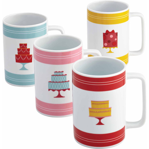 Cake Boss Serveware 4-Piece Mug Set, Multiple Patterns