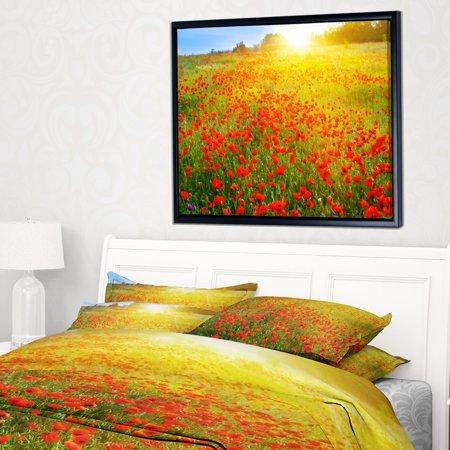 Sunshine Poppies - DESIGN ART Designart 'Beautiful Sunshine over Poppy Fields' Floral Framed Canvas Art print