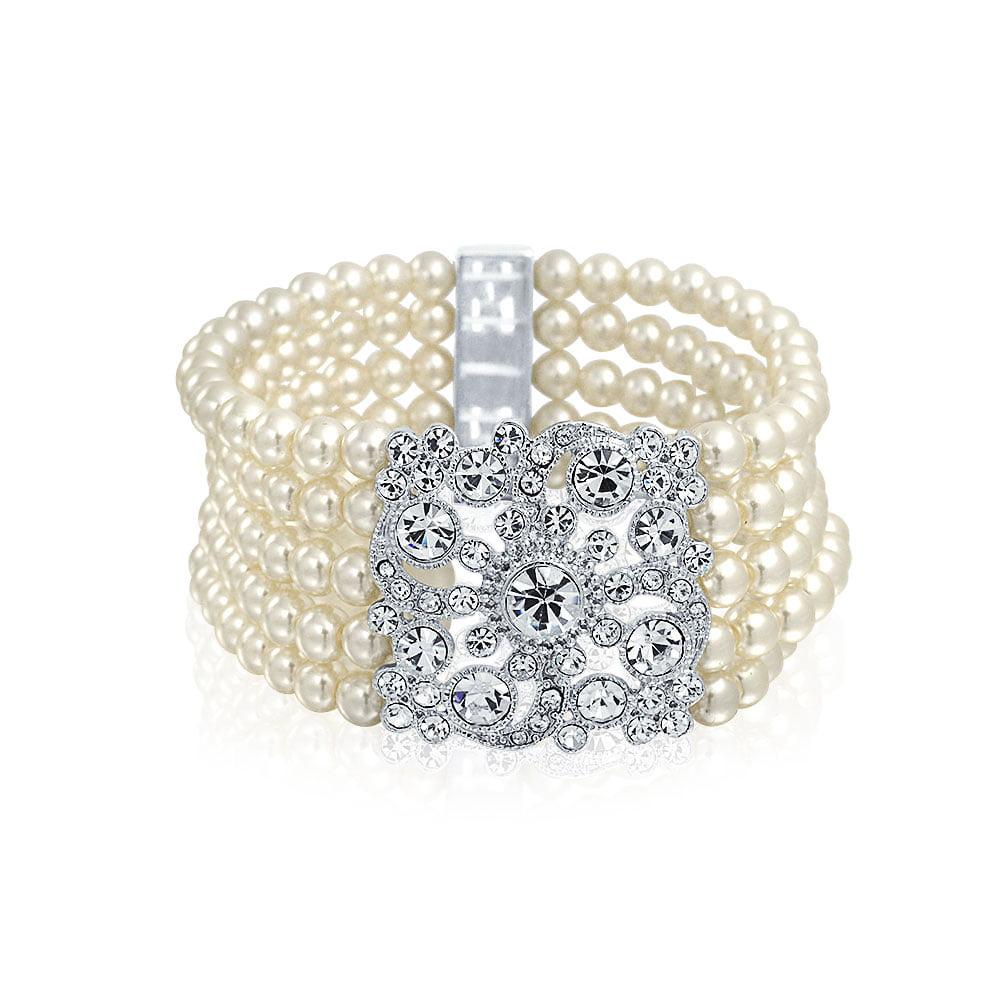 8c1461bea5f Bridal Vintage Style Multi Strand Off White Stretch Bracelet For ...