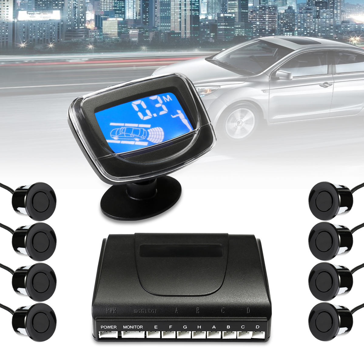 8 Parking Sensors Car Rear View Reverse Backup Front  LCD car rear view parking sensor  Display Radar System Tools Accessories