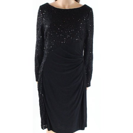 RALPH LAUREN Womens Black Sequined Pleated Long Sleeve Boat Neck Knee Length Sheath Party Dress  Size: 0