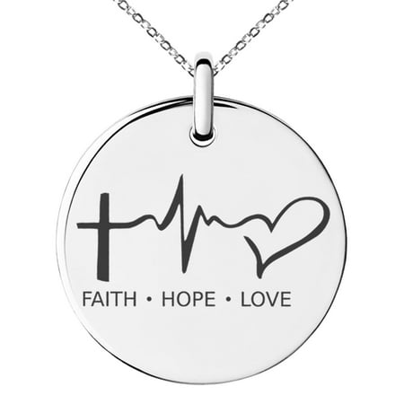 Stainless Steel Faith Hope Love Lifeline Engraved Small Medallion Circle Charm Pendant Necklace Faith Pendant Necklace